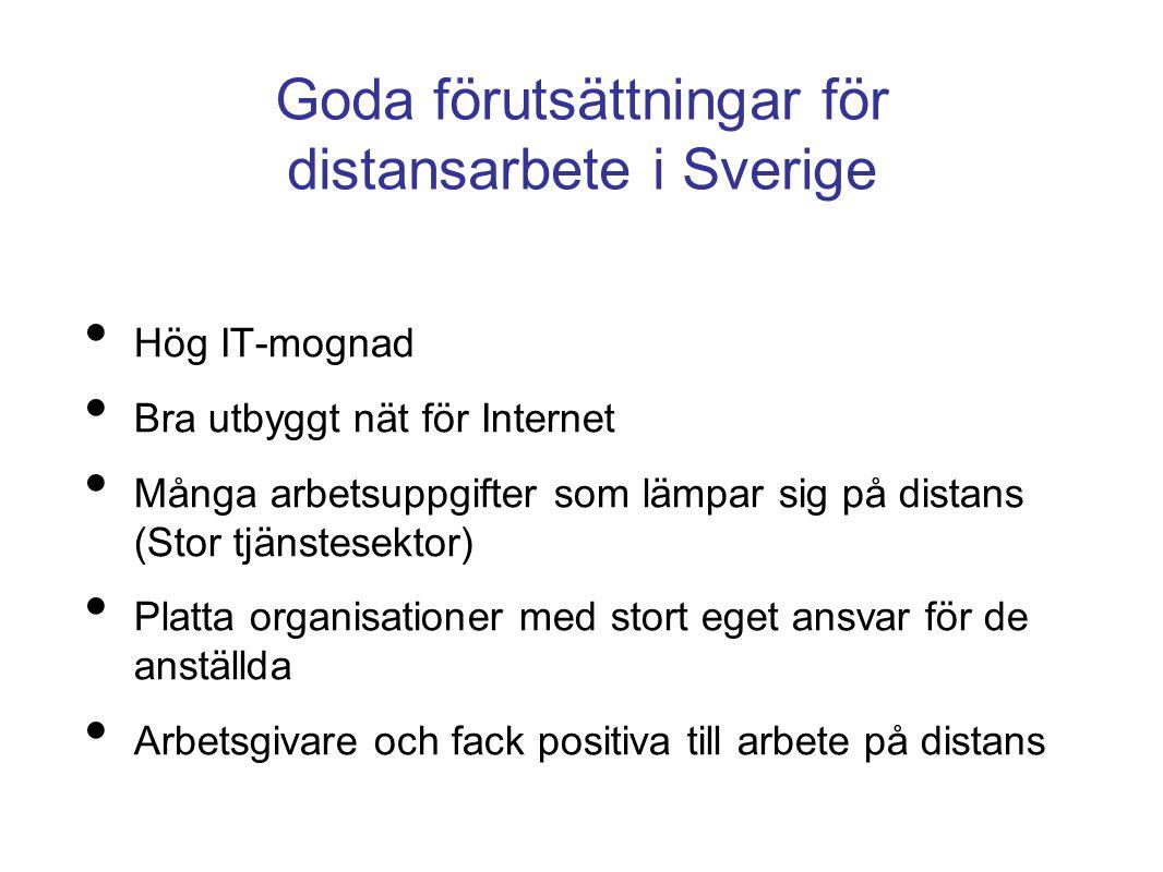 Goda förutsättningar för distansarbete i Sverige • Hög IT-mognad • Bra utbyggt nät för Internet • Många arbetsuppgifter som lämpar sig på distans (Sto