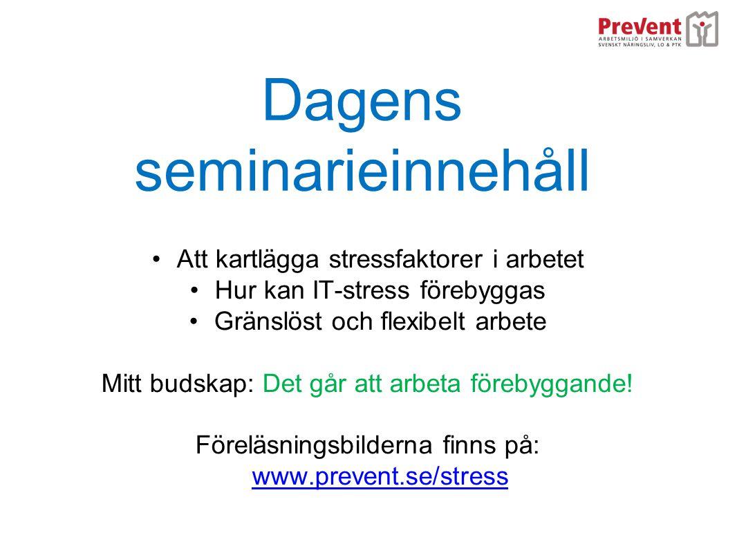 Dagens seminarieinnehåll •Att kartlägga stressfaktorer i arbetet •Hur kan IT-stress förebyggas •Gränslöst och flexibelt arbete Mitt budskap: Det går a