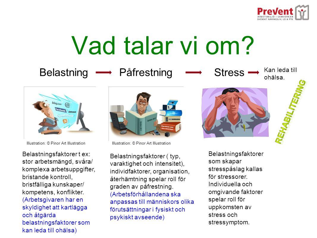 Några vanliga stressorer i arbetslivet Arbetsgivaren har en skyldighet att kartlägga, riskbedöma och åtgärda faktorer som kan ge upphov till olycksfall och ohälsa.