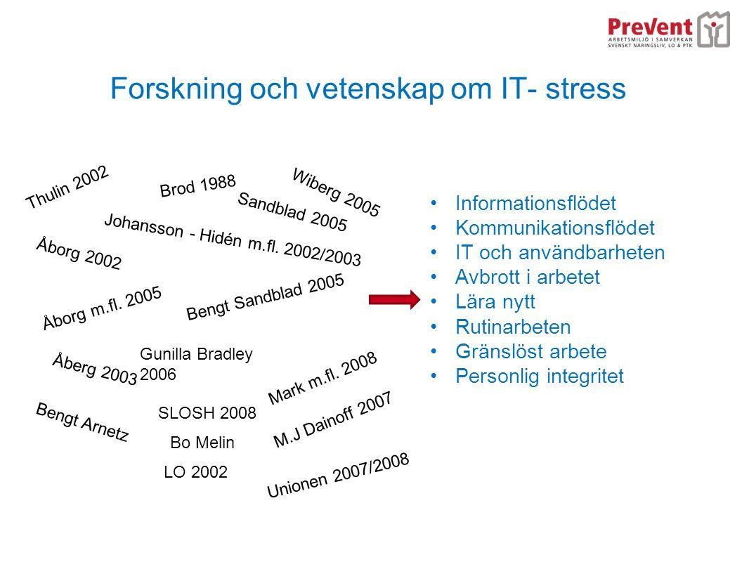 Forskning och vetenskap om IT- stress •Informationsflödet •Kommunikationsflödet •IT och användbarheten •Avbrott i arbetet •Lära nytt •Rutinarbeten •Gr