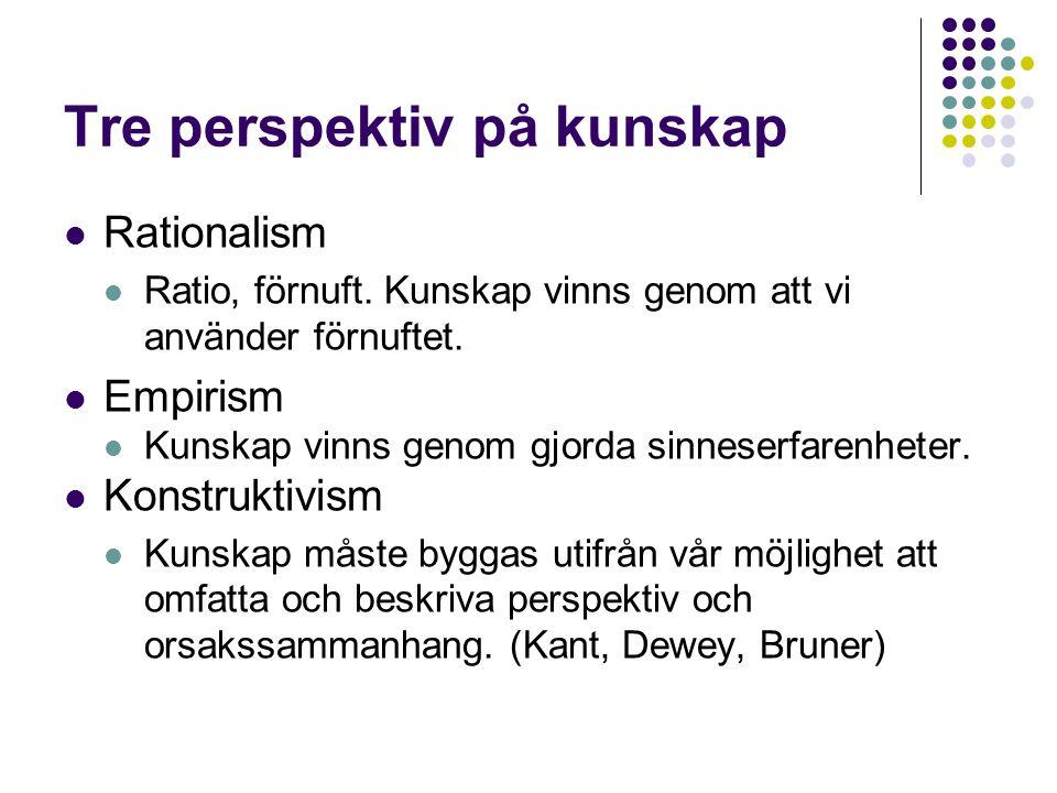 Tre perspektiv på kunskap  Rationalism  Ratio, förnuft. Kunskap vinns genom att vi använder förnuftet.  Empirism  Kunskap vinns genom gjorda sinne