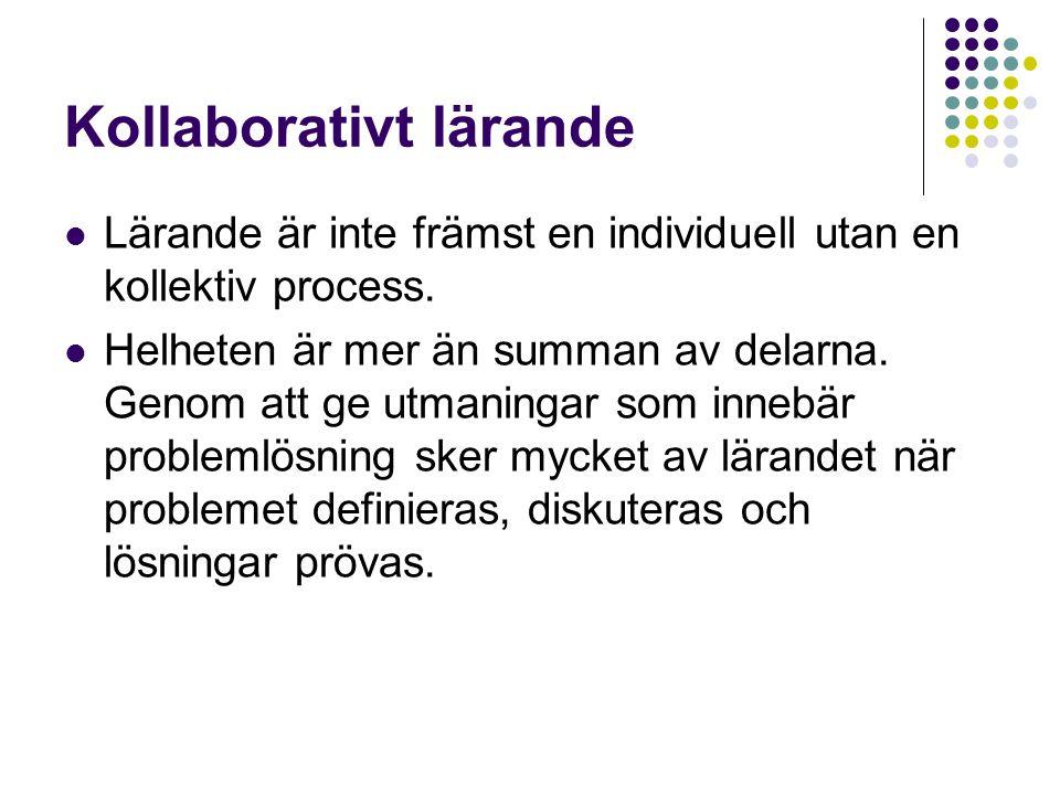 Kollaborativt lärande  Lärande är inte främst en individuell utan en kollektiv process.