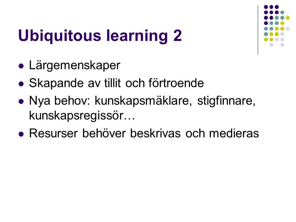 Ubiquitous learning 2  Lärgemenskaper  Skapande av tillit och förtroende  Nya behov: kunskapsmäklare, stigfinnare, kunskapsregissör…  Resurser behöver beskrivas och medieras