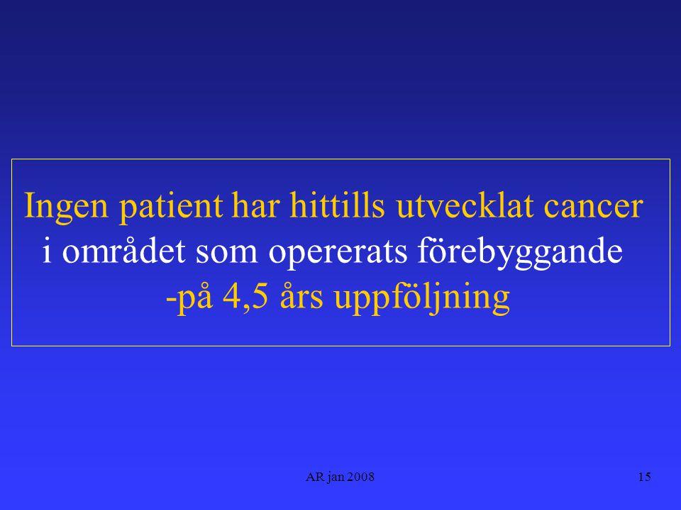AR jan 200815 Ingen patient har hittills utvecklat cancer i området som opererats förebyggande -på 4,5 års uppföljning