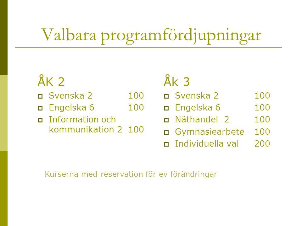 Valbara programfördjupningar ÅK 2  Svenska 2100  Engelska 6100  Information och kommunikation 2100 Åk 3  Svenska 2100  Engelska 6100  Näthandel2