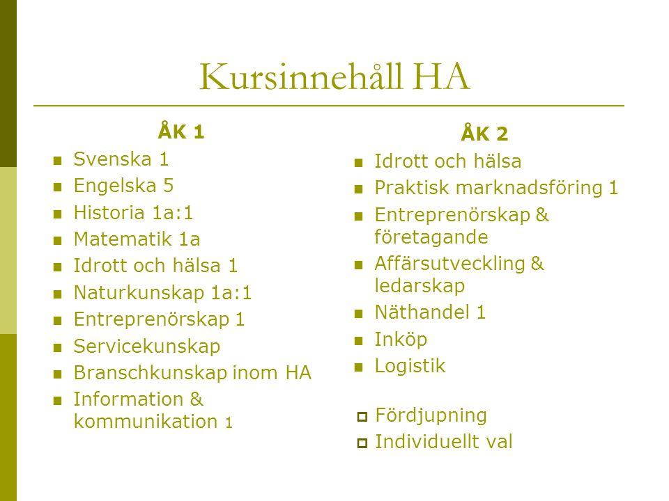 Kursinnehåll HA ÅK 1  Svenska 1  Engelska 5  Historia 1a:1  Matematik 1a  Idrott och hälsa 1  Naturkunskap 1a:1  Entreprenörskap 1  Servicekun