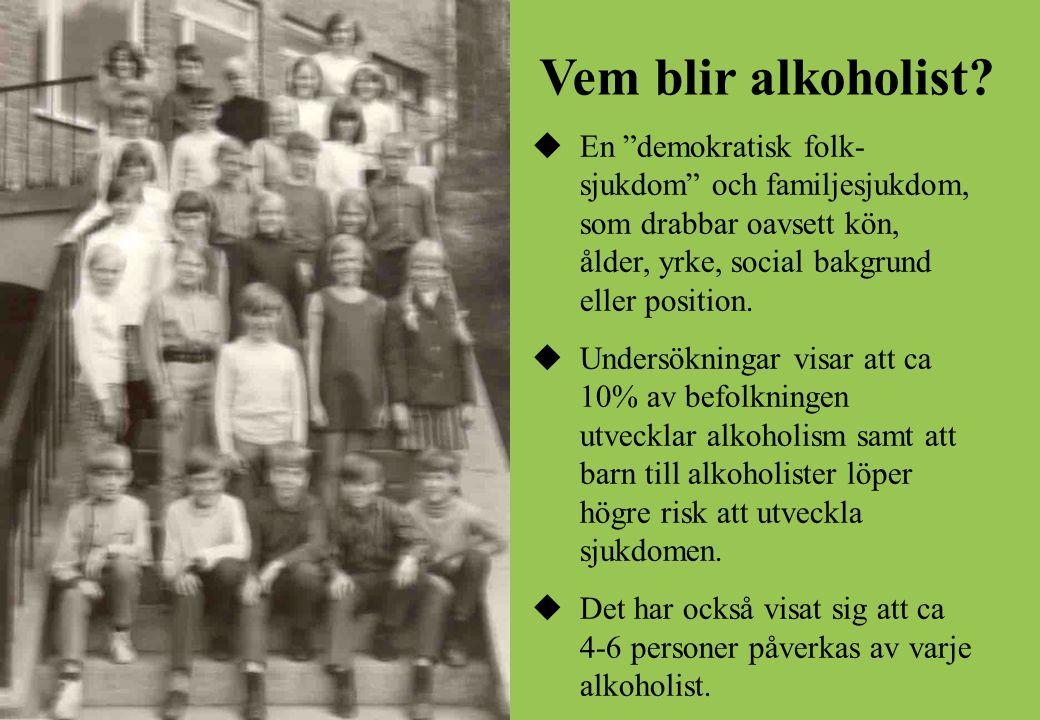 """Vem blir alkoholist?  En """"demokratisk folk- sjukdom"""" och familjesjukdom, som drabbar oavsett kön, ålder, yrke, social bakgrund eller position.  Unde"""