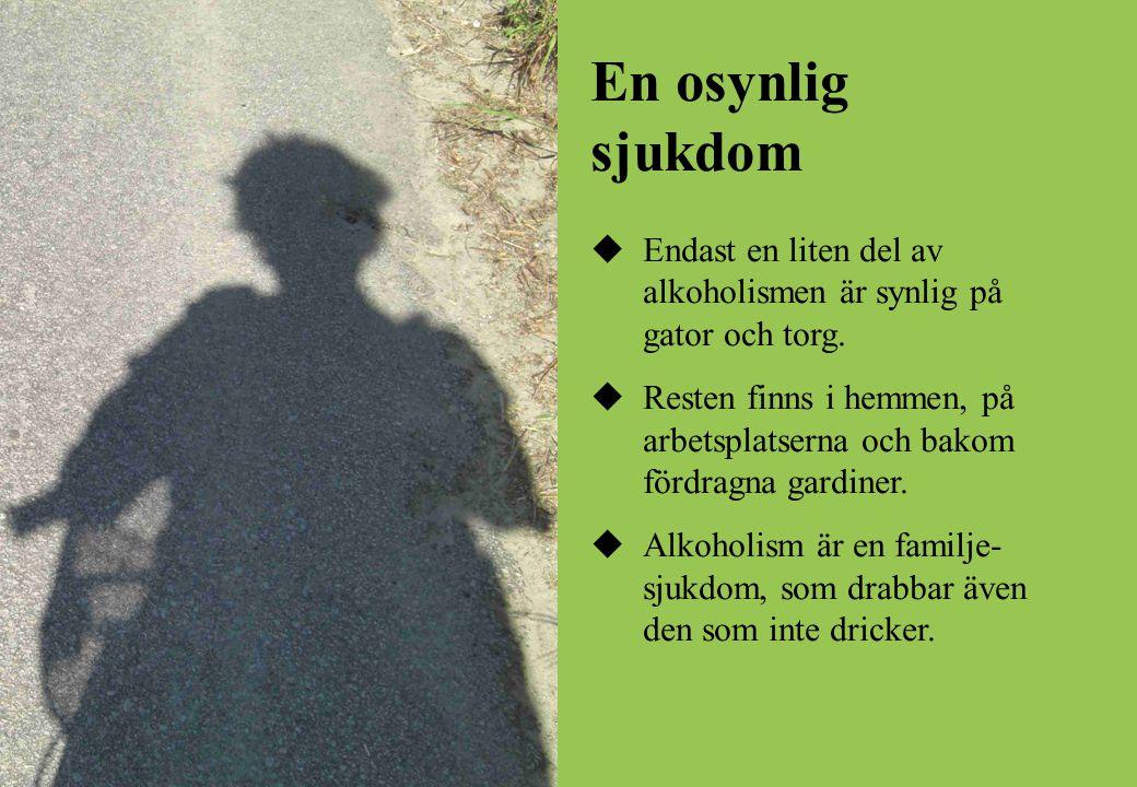 En osynlig sjukdom  Endast en liten del av alkoholismen är synlig på gator och torg.  Resten finns i hemmen, på arbetsplatserna och bakom fördragna