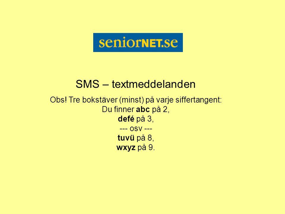 SMS – textmeddelanden Obs! Tre bokstäver (minst) på varje siffertangent: Du finner abc på 2, defé på 3, --- osv --- tuvü på 8, wxyz på 9.