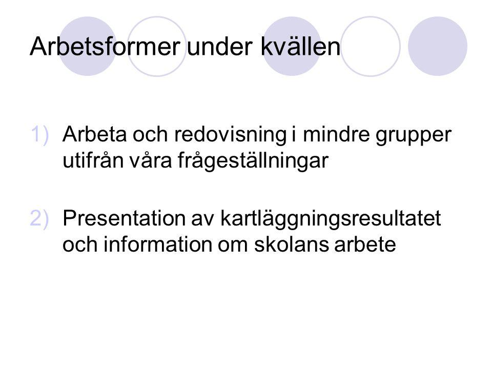 Arbetsformer under kvällen 1)Arbeta och redovisning i mindre grupper utifrån våra frågeställningar 2)Presentation av kartläggningsresultatet och infor