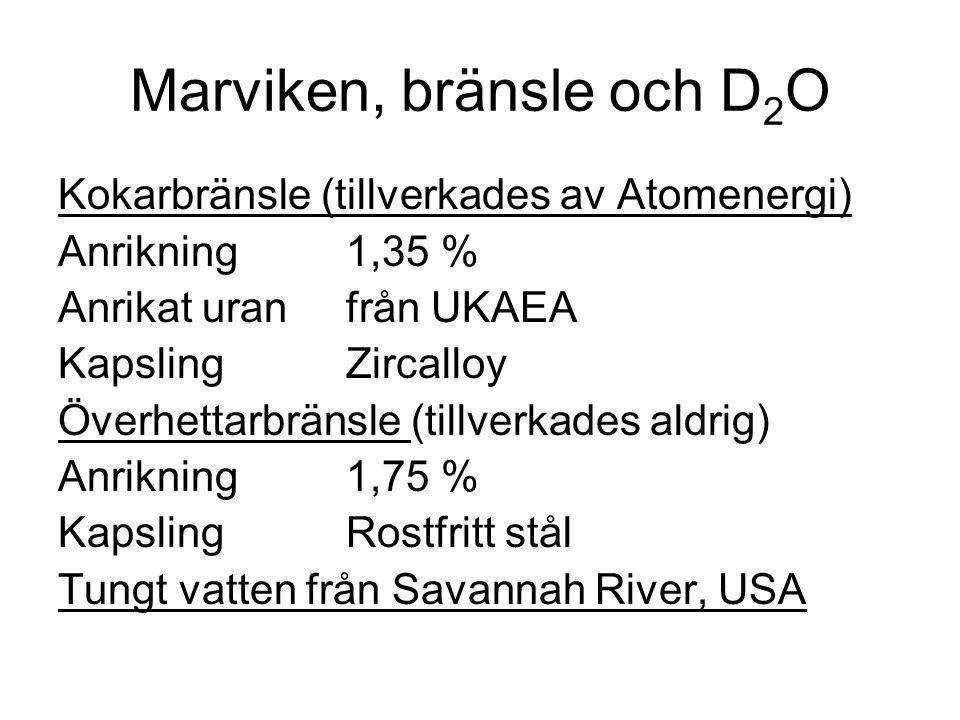 Marviken, bränsle och D 2 O Kokarbränsle (tillverkades av Atomenergi) Anrikning1,35 % Anrikat uranfrån UKAEA KapslingZircalloy Överhettarbränsle (till