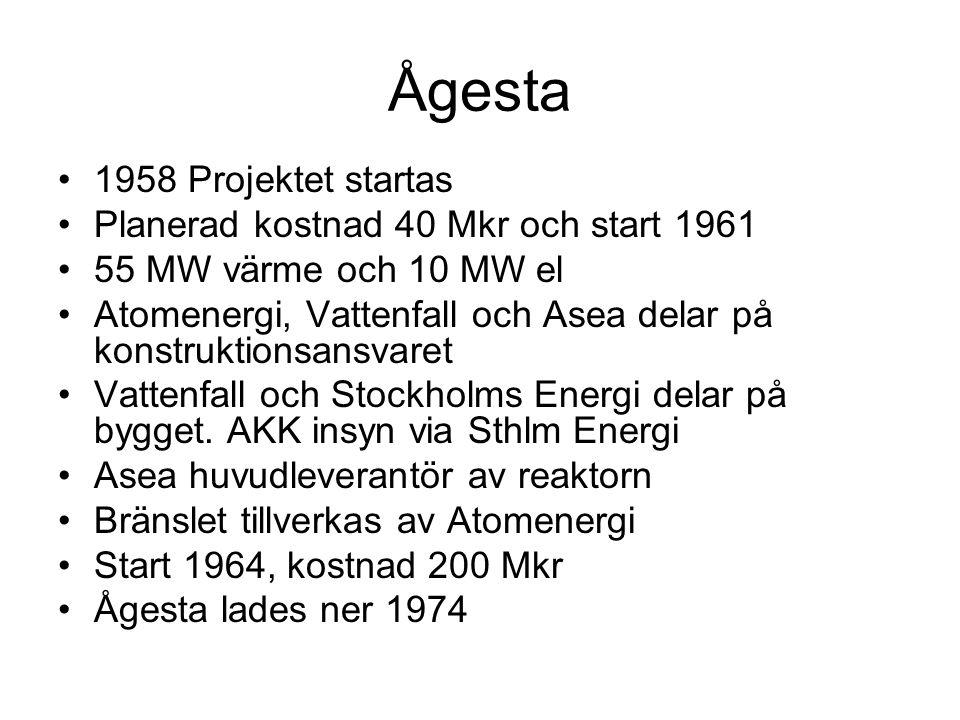 Ågesta •1958 Projektet startas •Planerad kostnad 40 Mkr och start 1961 •55 MW värme och 10 MW el •Atomenergi, Vattenfall och Asea delar på konstruktionsansvaret •Vattenfall och Stockholms Energi delar på bygget.