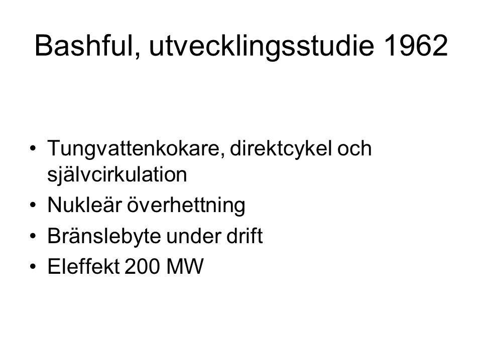 Bashful, utvecklingsstudie 1962 •Tungvattenkokare, direktcykel och självcirkulation •Nukleär överhettning •Bränslebyte under drift •Eleffekt 200 MW