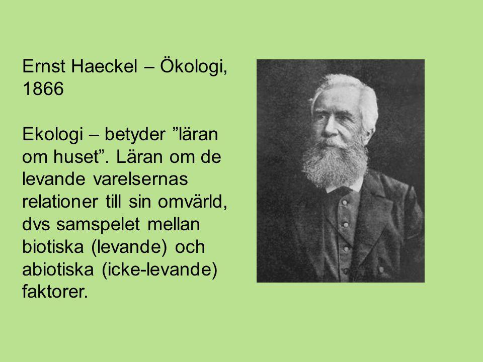 Ernst Haeckel – Ökologi, 1866 Ekologi – betyder läran om huset .