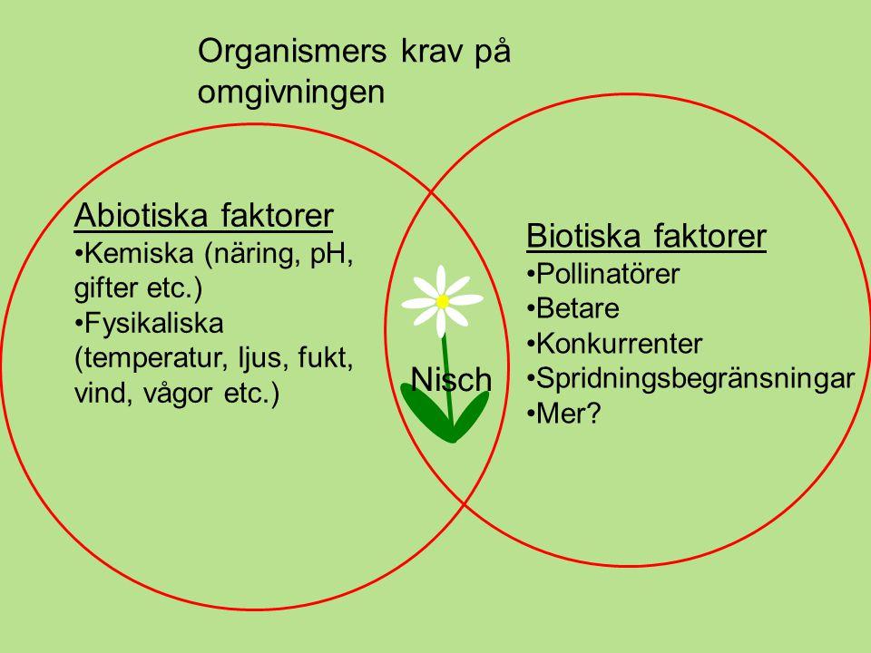 Organismers krav på omgivningen Abiotiska faktorer •Kemiska (näring, pH, gifter etc.) •Fysikaliska (temperatur, ljus, fukt, vind, vågor etc.) Biotiska faktorer •Pollinatörer •Betare •Konkurrenter •Spridningsbegränsningar •Mer.