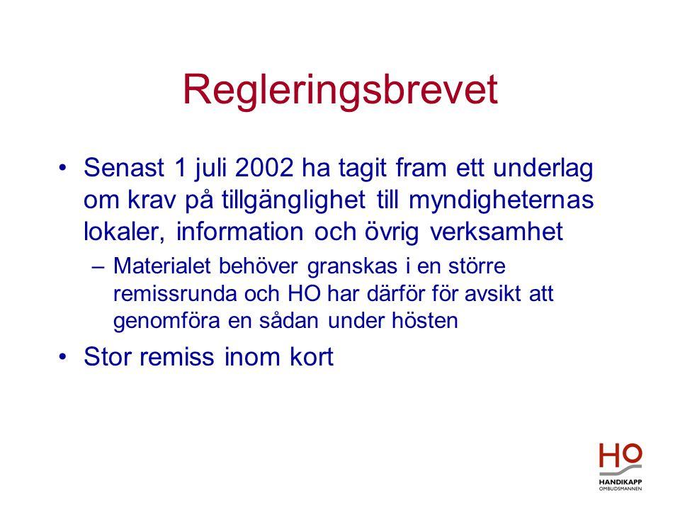 Regleringsbrevet •Senast 1 juli 2002 ha tagit fram ett underlag om krav på tillgänglighet till myndigheternas lokaler, information och övrig verksamhe