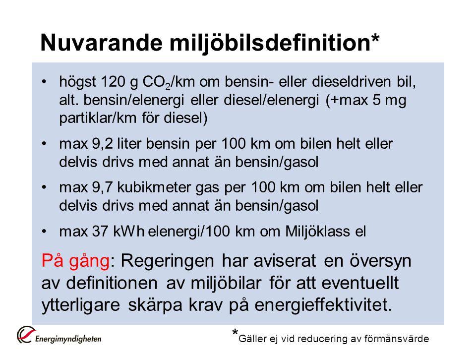 Nationella styrmedel (forts.) •Supermiljöbilspremie Förslag: 40 000kr till privatpersoner för inköp av personbil med max 50 gram CO 2 /km och total energianvändning på max 0,3 kWh/km + Trafiksäkerhetskrav och bullerkrav På remiss!