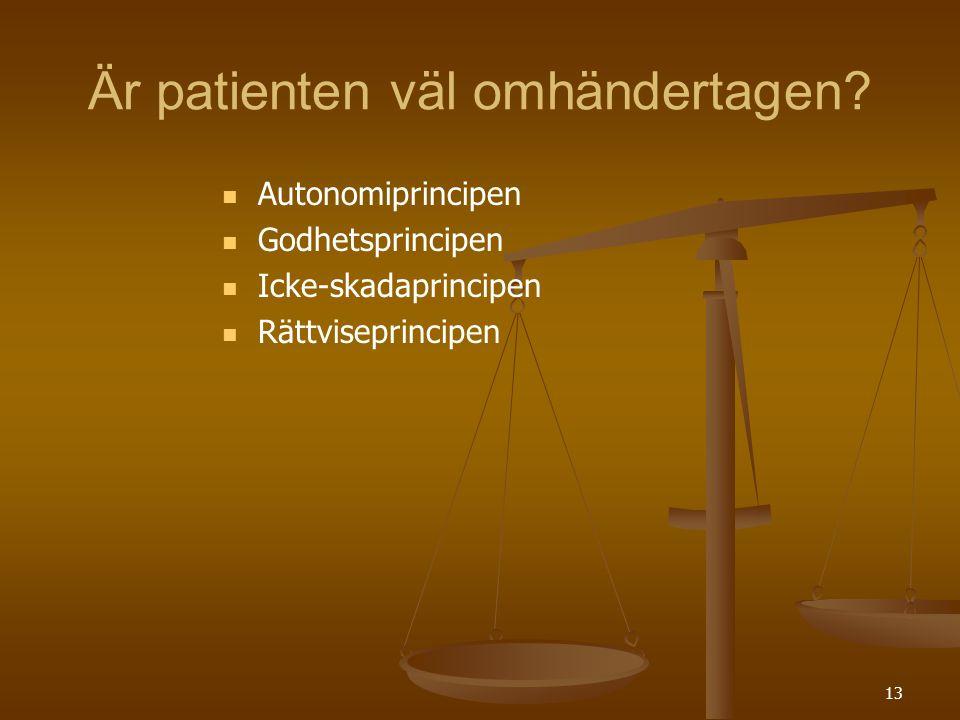 13 Är patienten väl omhändertagen?   Autonomiprincipen   Godhetsprincipen   Icke-skadaprincipen   Rättviseprincipen