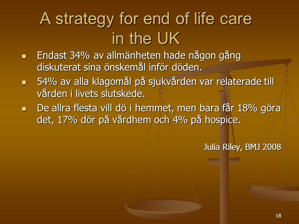 18 A strategy for end of life care in the UK  Endast 34% av allmänheten hade någon gång diskuterat sina önskemål inför döden.  54% av alla klagomål