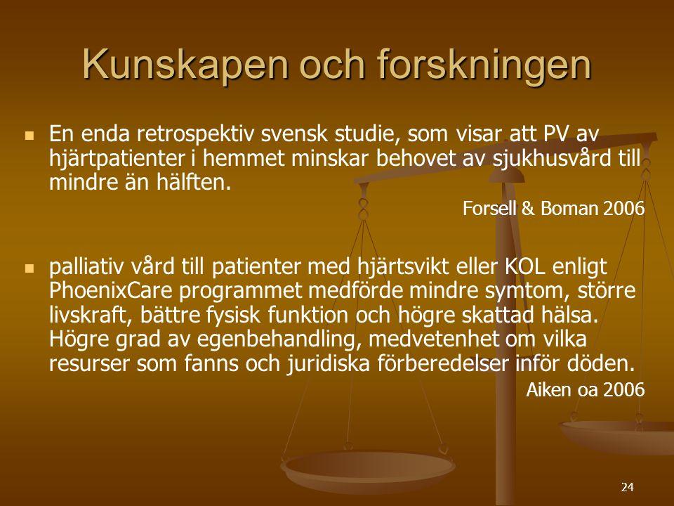 24 Kunskapen och forskningen   En enda retrospektiv svensk studie, som visar att PV av hjärtpatienter i hemmet minskar behovet av sjukhusvård till m