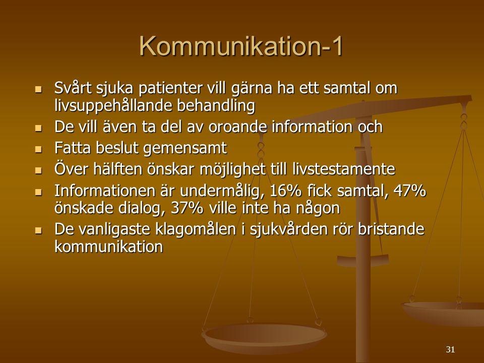 31 Kommunikation-1  Svårt sjuka patienter vill gärna ha ett samtal om livsuppehållande behandling  De vill även ta del av oroande information och 