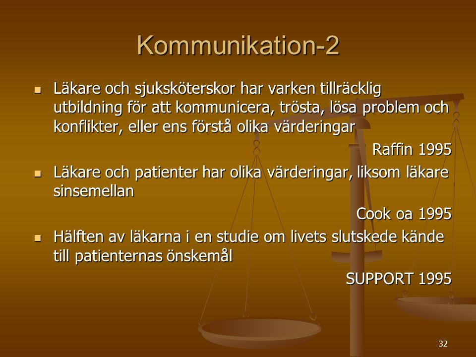 32 Kommunikation-2  Läkare och sjuksköterskor har varken tillräcklig utbildning för att kommunicera, trösta, lösa problem och konflikter, eller ens f