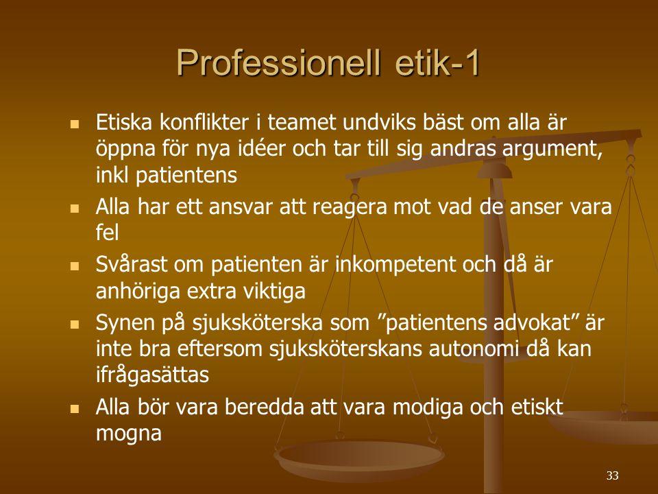 33 Professionell etik-1   Etiska konflikter i teamet undviks bäst om alla är öppna för nya idéer och tar till sig andras argument, inkl patientens 
