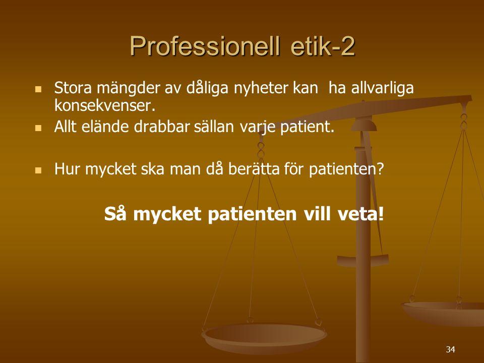 34 Professionell etik-2   Stora mängder av dåliga nyheter kan ha allvarliga konsekvenser.   Allt elände drabbar sällan varje patient.   Hur myck