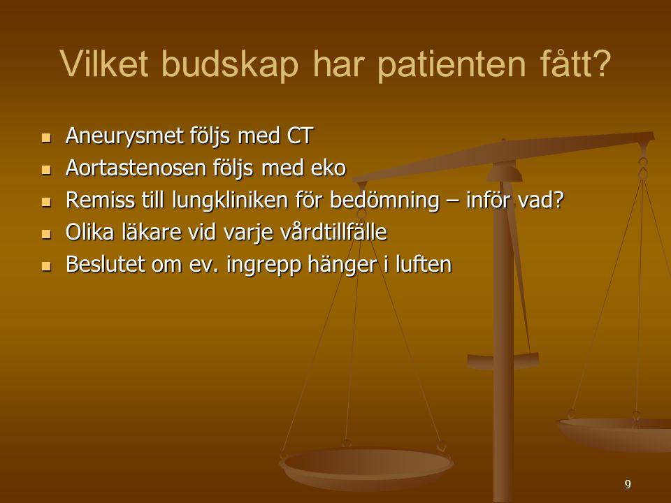 9 Vilket budskap har patienten fått?  Aneurysmet följs med CT  Aortastenosen följs med eko  Remiss till lungkliniken för bedömning – inför vad?  O