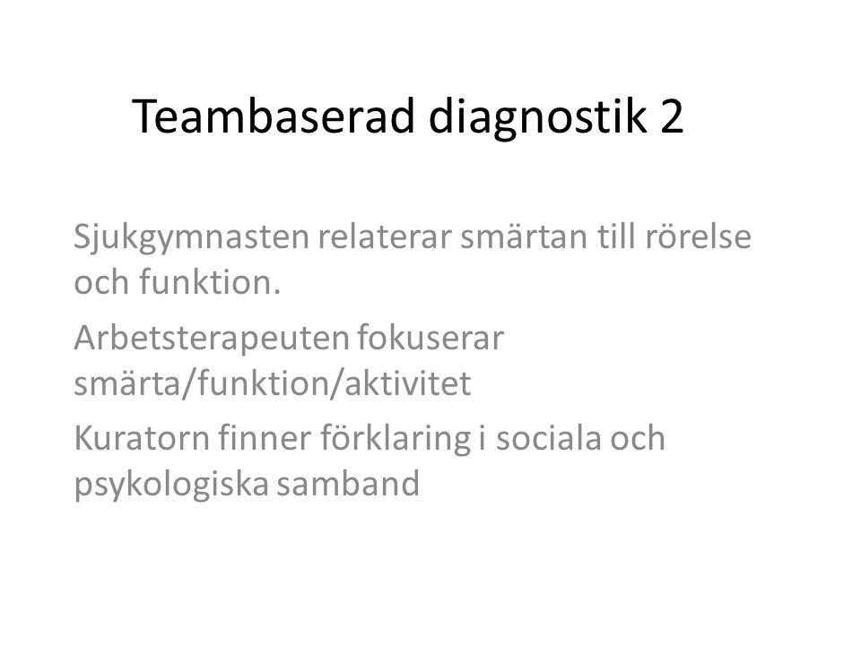 Teambaserad diagnostik 2 Sjukgymnasten relaterar smärtan till rörelse och funktion. Arbetsterapeuten fokuserar smärta/funktion/aktivitet Kuratorn finn