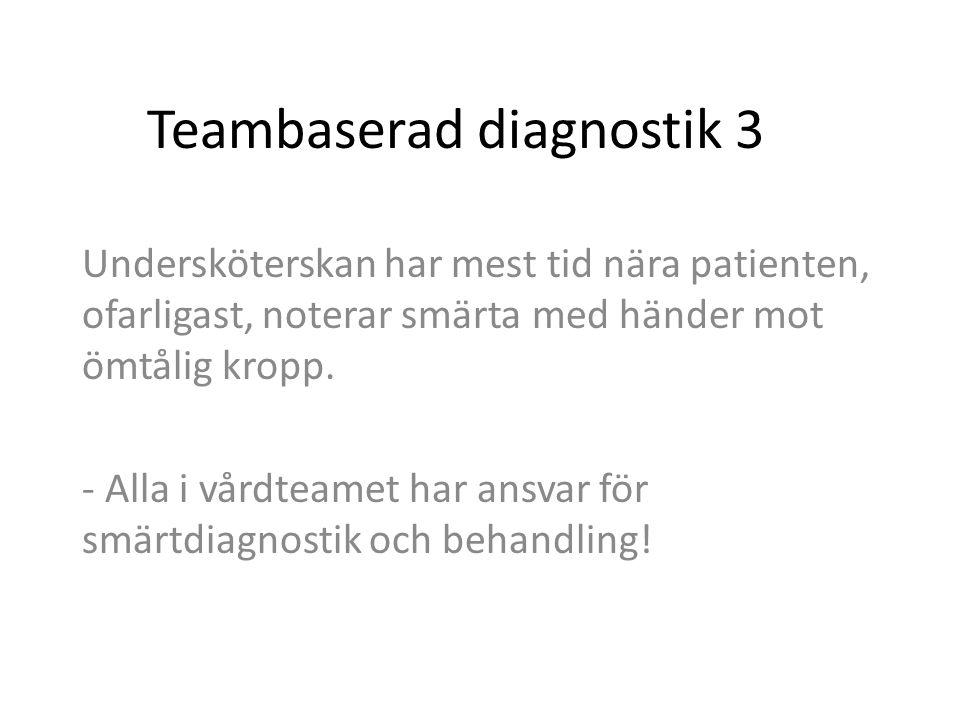 Teambaserad diagnostik 3 Undersköterskan har mest tid nära patienten, ofarligast, noterar smärta med händer mot ömtålig kropp. - Alla i vårdteamet har