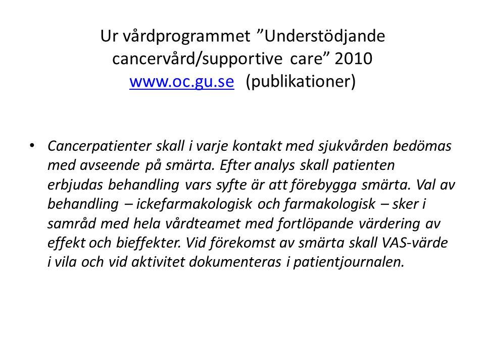 "Ur vårdprogrammet ""Understödjande cancervård/supportive care"" 2010 www.oc.gu.se (publikationer) www.oc.gu.se • Cancerpatienter skall i varje kontakt m"