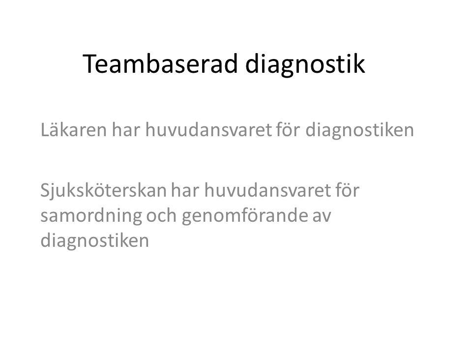 Teambaserad diagnostik Läkaren har huvudansvaret för diagnostiken Sjuksköterskan har huvudansvaret för samordning och genomförande av diagnostiken