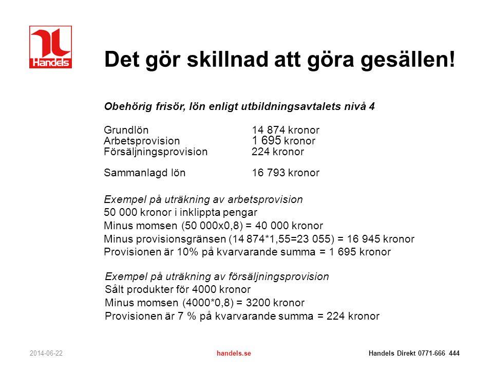 Det gör skillnad att göra gesällen! 2014-06-22handels.se Handels Direkt 0771-666 444 Obehörig frisör, lön enligt utbildningsavtalets nivå 4 Grundlön14