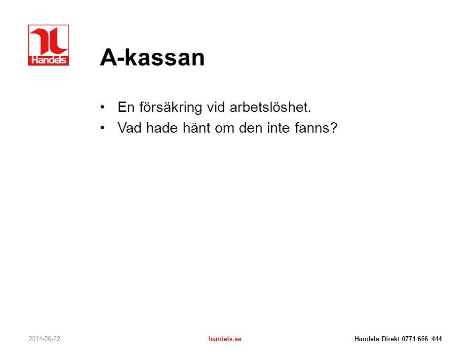A-kassan •En försäkring vid arbetslöshet. •Vad hade hänt om den inte fanns? 2014-06-22handels.se Handels Direkt 0771-666 444