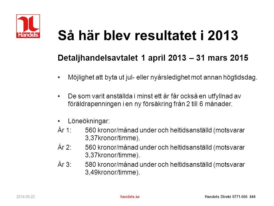 Så här blev resultatet i 2013 Detaljhandelsavtalet 1 april 2013 – 31 mars 2015 •Möjlighet att byta ut jul- eller nyårsledighet mot annan högtidsdag. •