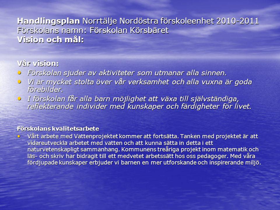 Handlingsplan Norrtälje Nordöstra förskoleenhet 2010-2011 Förskolans namn: Förskolan Körsbäret Vision och mål: Vår vision: • Förskolan sjuder av aktiviteter som utmanar alla sinnen.