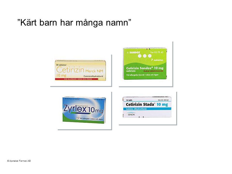 Kärt barn har många namn cetirizin © Apoteket Farmaci AB