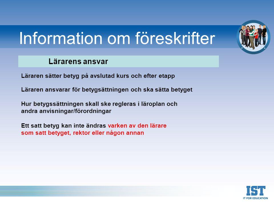 Information om föreskrifter När ska en kurs anses vara avslutad.