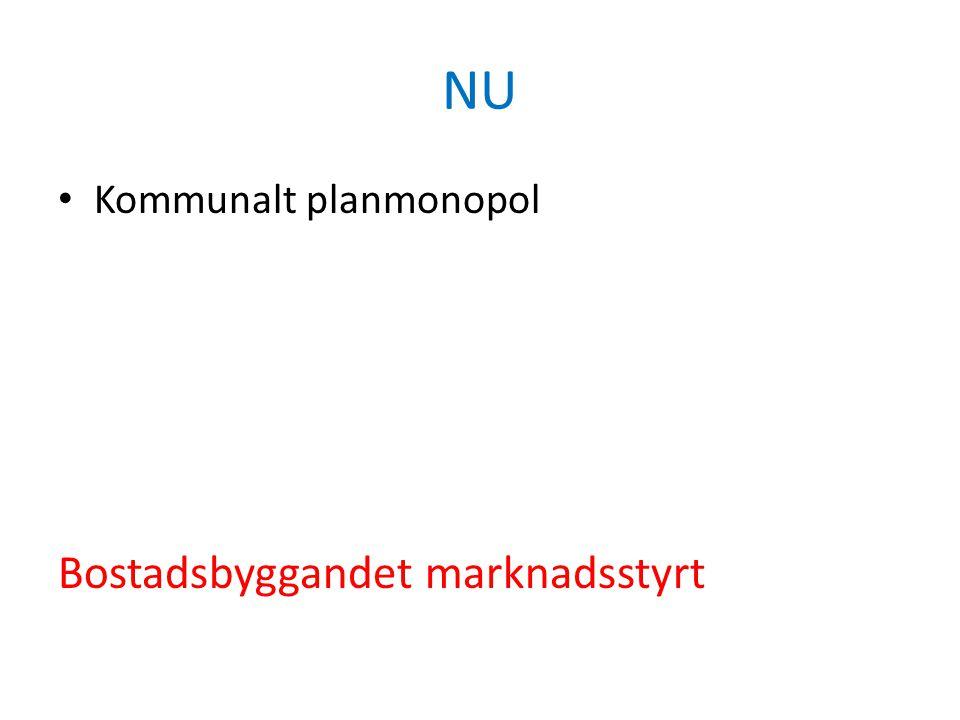 NU • Kommunalt planmonopol Bostadsbyggandet marknadsstyrt