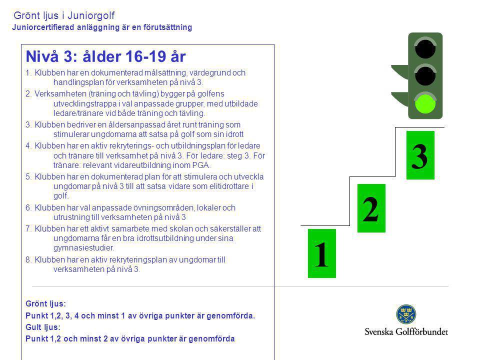 Grönt ljus i Juniorgolf Juniorcertifierad anläggning är en förutsättning Nivå 3: ålder 16-19 år 1.