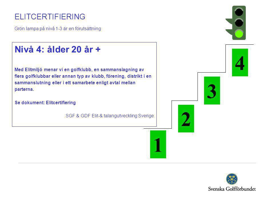 ELITCERTIFIERING Grön lampa på nivå 1-3 är en förutsättning Nivå 4: ålder 20 år + Med Elitmiljö menar vi en golfklubb, en sammanslagning av flera golfklubbar eller annan typ av klubb, förening, distrikt i en sammanslutning eller i ett samarbete enligt avtal mellan parterna.