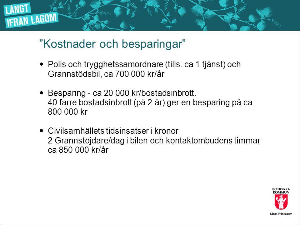 """""""Kostnader och besparingar""""  Polis och trygghetssamordnare (tills. ca 1 tjänst) och Grannstödsbil, ca 700 000 kr/år  Besparing - ca 20 000 kr/bostad"""