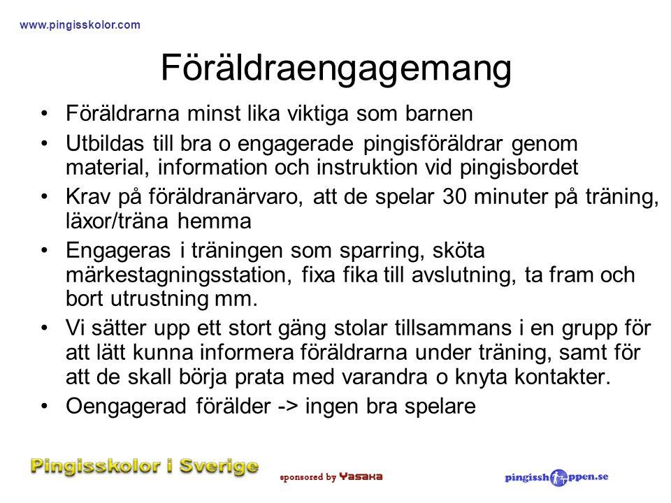 www.pingisskolor.com Föräldraengagemang •Föräldrarna minst lika viktiga som barnen •Utbildas till bra o engagerade pingisföräldrar genom material, inf