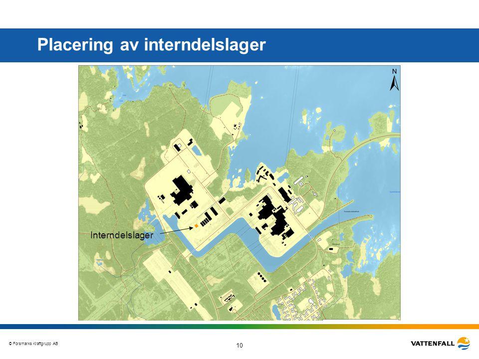 © Forsmarks Kraftgrupp AB 10 Placering av interndelslager Interndelslager