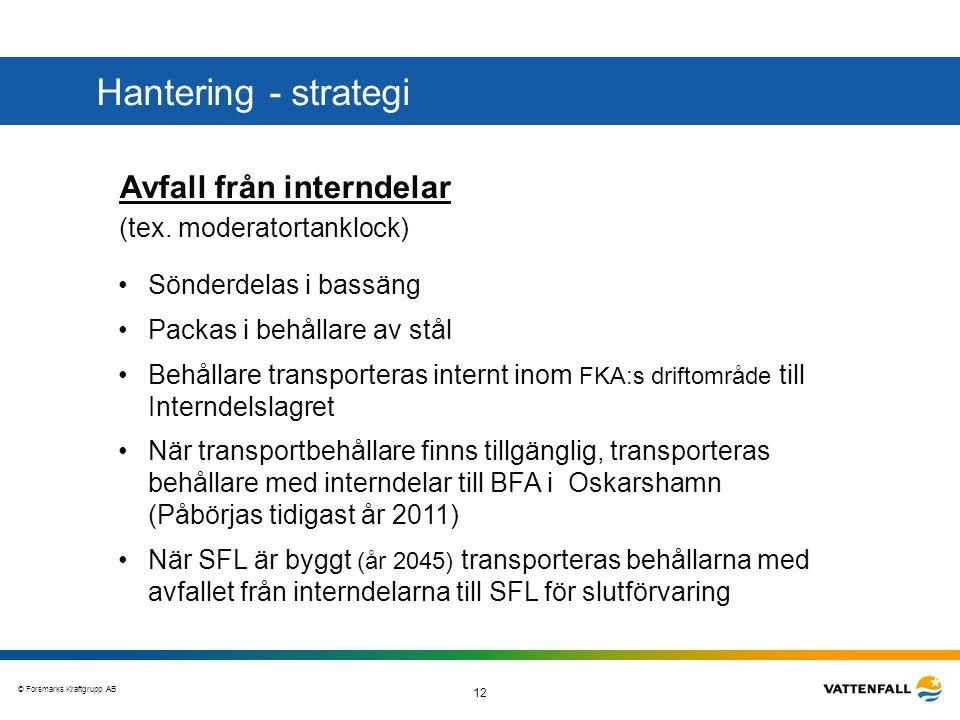 © Forsmarks Kraftgrupp AB 12 Avfall från interndelar (tex. moderatortanklock) •Sönderdelas i bassäng •Packas i behållare av stål •Behållare transporte
