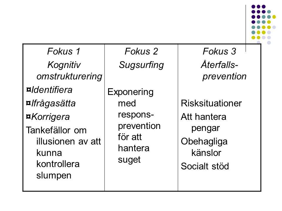 Fokus 1 Kognitiv omstrukturering ¤Identifiera ¤Ifrågasätta ¤Korrigera Tankefällor om illusionen av att kunna kontrollera slumpen Fokus 2 Sugsurfing Ex