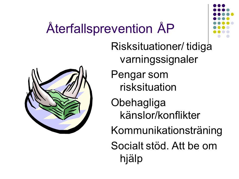 Återfallsprevention ÅP Risksituationer/ tidiga varningssignaler Pengar som risksituation Obehagliga känslor/konflikter Kommunikationsträning Socialt s