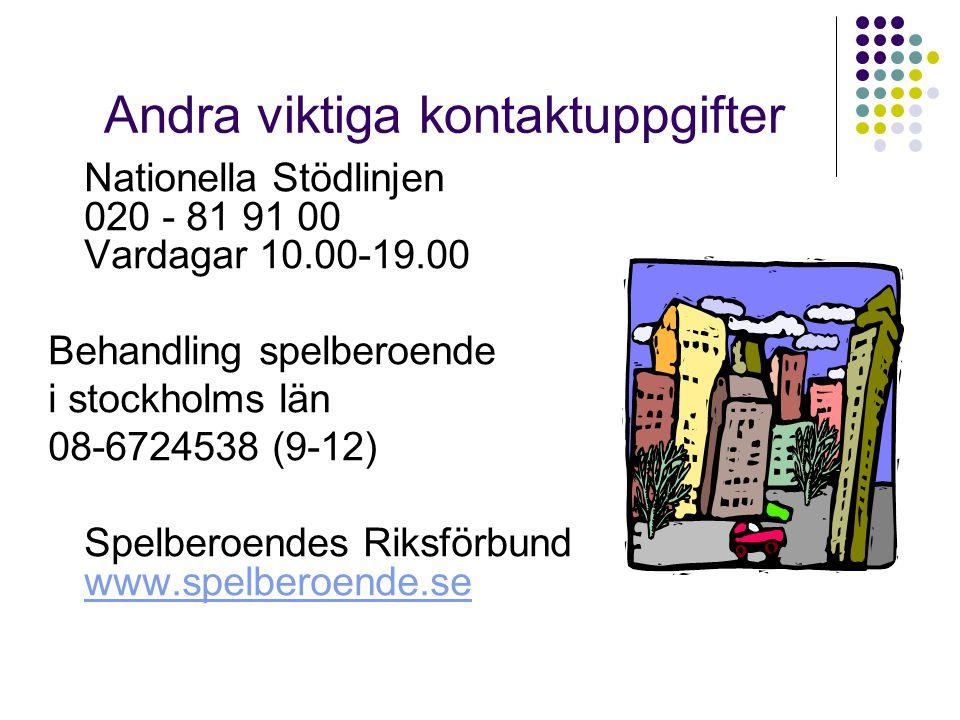Andra viktiga kontaktuppgifter Nationella Stödlinjen 020 - 81 91 00 Vardagar 10.00-19.00 Behandling spelberoende i stockholms län 08-6724538 (9-12) Sp