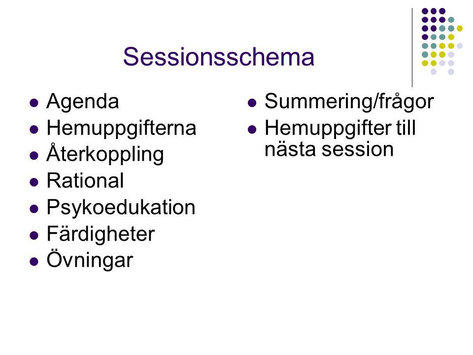 Sessionsschema  Agenda  Hemuppgifterna  Återkoppling  Rational  Psykoedukation  Färdigheter  Övningar  Summering/frågor  Hemuppgifter till nä